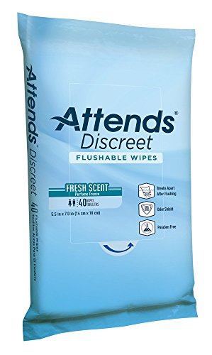 Attends Discreet Incontinence Care Flushable Wipes ,  960 Count by Attends