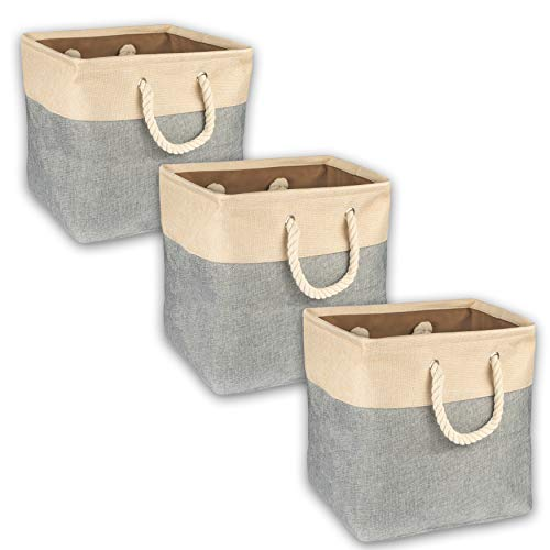 Collapsible Canvas Storage Bin Baskets for Toys, Clothes, Blankets, Towels, Vanity, Closet, Under Bed Organization – Gray Sturdy Woven Fabric Folding Tote Cubes with Rope Handles, Set of 3. Top Amaze (Set Storage Folding Bins)