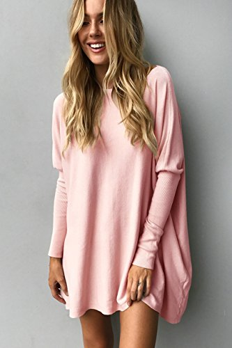 Top Mini Robe Yidarton Tunique Casual Longues Pull Rose Large Femme Manches qw4XwUp