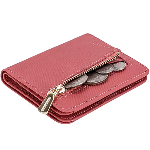 Itslife Women's Rfid Blocking Small Compact Bifold Leather Pocket Wallet Ladies Mini Purse with id Window (Stripe Pink)