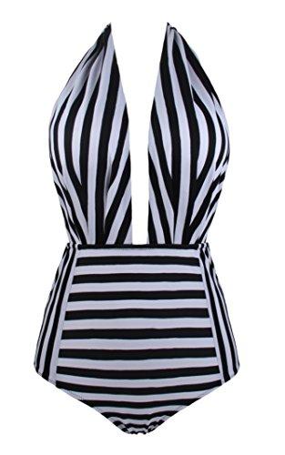 Front Donna Bagno Costumi Bagno Un Nero Cross da Pezzo Costume Monokini 1 da Angerella Stampa Floreale con Strappy q5xdwYq1S