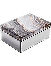 Large Glass Jewelry Box Decorative Box Keepsake box Marble decor Jewelry Organizer Glam decor Storage for Women Girls Luxurious Gift…