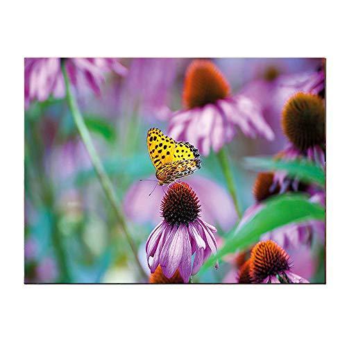 SATVSHOP Wall Art painting-24Lx20W-Garden Monarch Butterfly on Coneflowers Wildlife Bugs Plants Ural Scenery Photo Fuchsia Yellow Green.Self-Adhesive backplane/Detachable Modern Decorative.