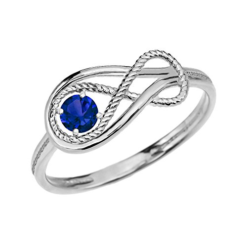 Sapphire Rope Infinity 10k White Gold Ring(Size (White Gold Sapphire Claddagh Ring)