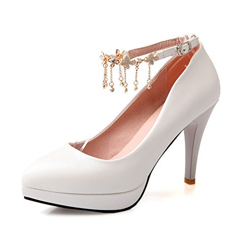 AgooLar Damen Schnalle Stiletto Pu Rein Spitz Zehe Pumps Schuhe Weiß