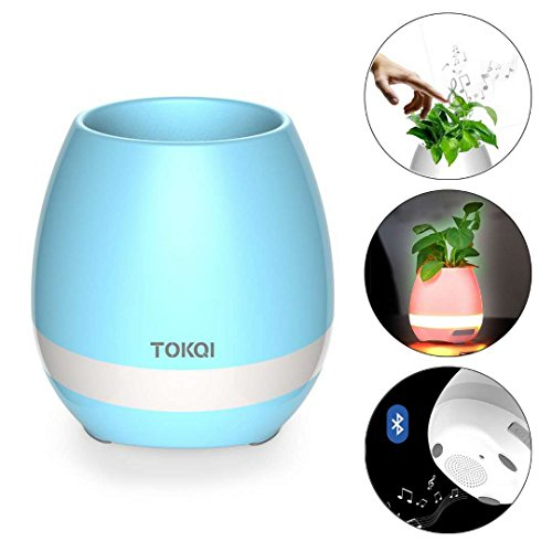 Music Flower Pot, Wireless Bluetooth Speaker, LED Light Smart Touch Music Flower Pot by, Multicolor Night Light, Play Piano Music on a real plant with colorful LED lights (Plant not - Music Pot