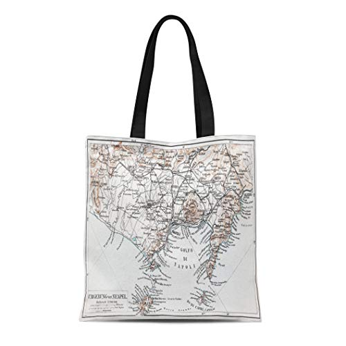 Semtomn Cotton Canvas Tote Bag Vintage Map of Naples Napoli Surroundings at the End Reusable Shoulder Grocery Shopping Bags Handbag Printed