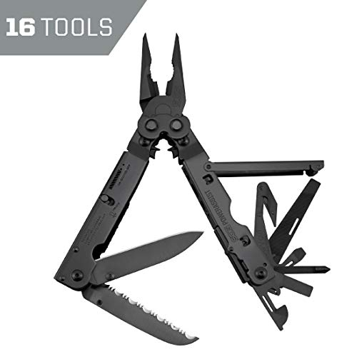 SOG Multitool Pliers - PowerAssist Black Oxide Multi Tool Pocket Knife and Utility Tool Set w/ 16 Lightweight Specialty Tools and EDC Sheath (B66N-CP)