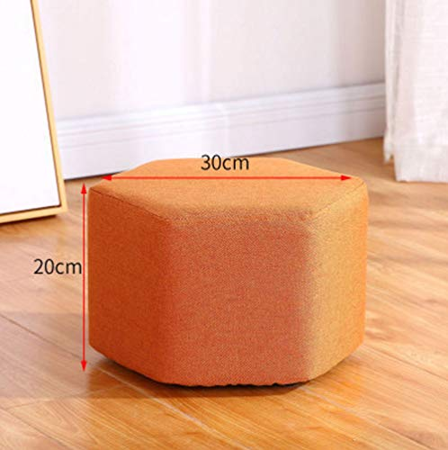 Japanese Style Wooden Stool Modern Cloth Children's Stool Chair Hexagon Fashion Bench Footrest Sofa Stool Adult Shoe Bench Household Living Room Coffee Table Stool (30 x 20 cm)]()