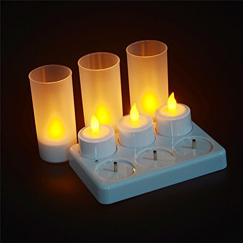 ARDUX LED Flameless Candles, Rechargeable Tea Light Candles Lamps with Holders Charging Station for Party Wedding Home Garden Outdoor Indoor Decoration (Pack of 6) by ARDUX