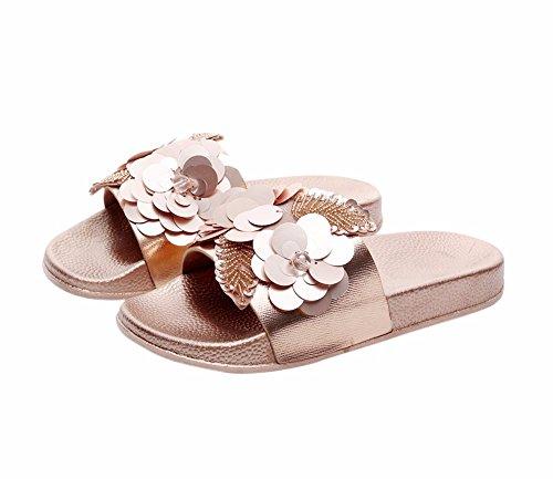 YUCH Señoras Zapatillas Flores Antideslizamiento Interior Y Exterior Plana Zapatos Diariamente jin