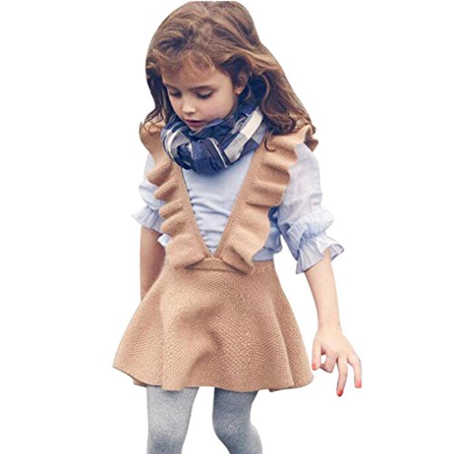 FEITONG Toddler Little Girls Autumn Knit Sweater Solid Sleeveless Ruffle Dress Clothes (6Years, Brown) ()