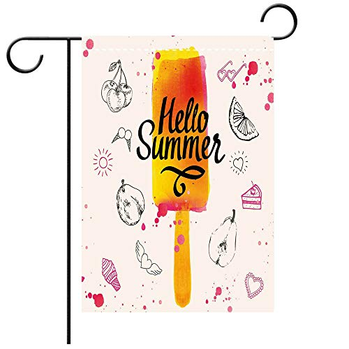 - BEICICI Custom Personalized Garden Flag Outdoor Flag Ice Cream Decor Hello Summer Motivational Quote with Lime Heart Sun Cake Color Splash Image Multicolor Best for Party Yard and Home Outdoor Decor