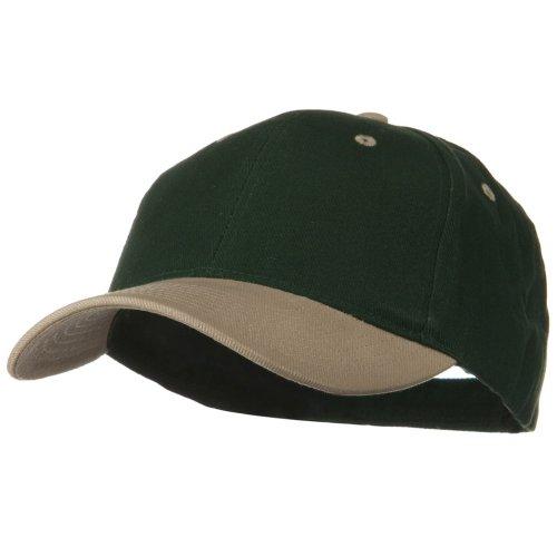 2 Tone Brushed Bull Denim Mid Profile Cap - Khaki Dark Green OSFM (Baseball Tone Hat)