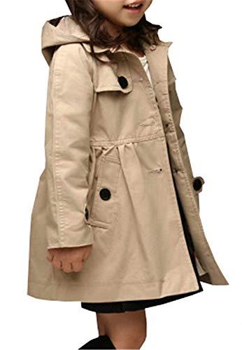 Betusline Little Girls Khaki Hooded Trench Coat Button Up Jacket Hoodie, Khaki, 7-8 Years = Tag 150