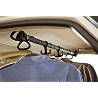 Rubbermaid 3346-20 Automotive Expandable Hanging Clothes Bar: Non-Slip Rubber Coated Car Rod with Accessory Hooks