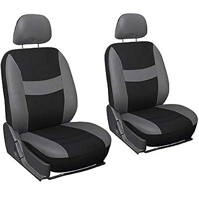 Motorup America Auto Seat Cover 6pc Set - Fits Select Vehicles Car Truck Van SUV - Gray & Black
