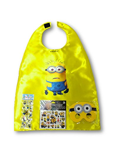 Double Print Superhero Costumes For Kids SET- Capes, Masks,Stickers and Tattoos (Minion Costumes Girls)