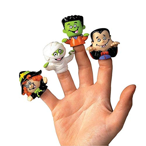 Dozen Vinyl Halloween Character Finger Puppets (Witch, Dracula, Ghoul, -
