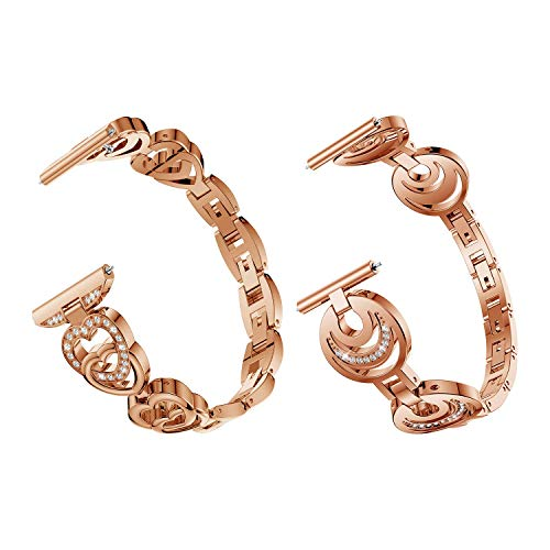 Elobeth Compatible with Galaxy Watch Band 42mm Active Band 40mm Alloy Crystal Rhinestone Watch Band Bracelet Strap Women Girls (Rose Gold Set) ()