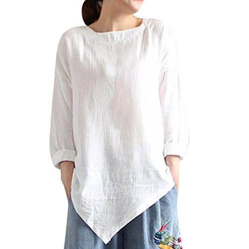 Women's Cotton and Linen Long-Sleeved Top Summer Vintage Cotton Linen Long Sleeve Shirt Casual Loose Duseedik ()