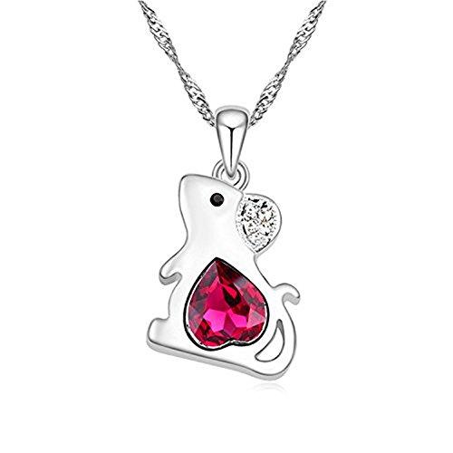 Kangkang Fashion Austrian Crystal Beautiful Lovely Pendant Necklace -Zodiac rat mouse -