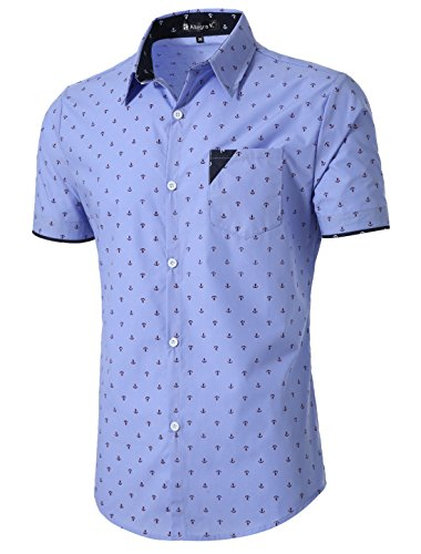 ae62ea35971 uxcell Men Button Down Short Sleeve Anchor Pattern Casual Shirt Small Blue