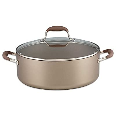 Durable Advanced Umber 7.5 qt. Hard Anodized Aluminum Covered Wide Stockpot with SureGrip Handles