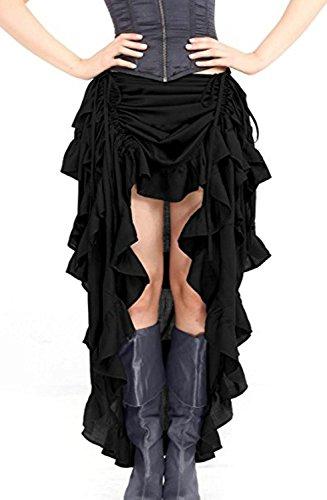 Black Pirate Skirt - Indrah Women's Rock Steampunk Skirt High