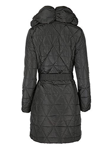 Envy Boutique nuevo para mujer, acolchada Puffer acolchada Belted chaqueta Parka de plumón negro