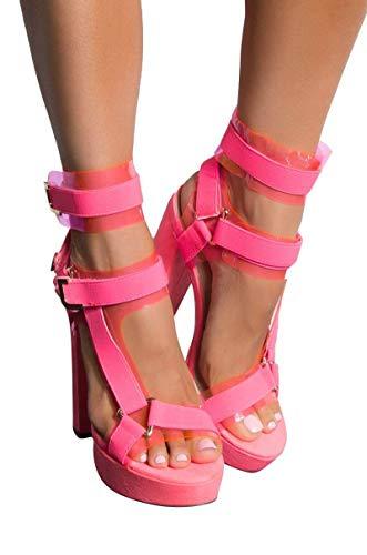 AKIRA Women's PVC Utility Buckle Strappy Chunky Super High Heel Platform Pleaser Sandals-NEON PINK_9 -