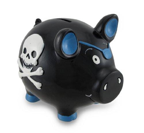 Zeckos Black and Blue Pirate Pig w/Skull and Crossbones Piggy Bank Coin - Piggy Pirate Bank