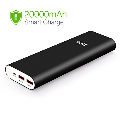 iKits Power Bank, 20400mAh Portable Charger Aluminum Case Panasonic Cell Dual USB port: 2.4A+2.4A with Smart IC Technology External Battery Pack Compatible iPhone/iPad,Galaxy S9, LG&More Android Black