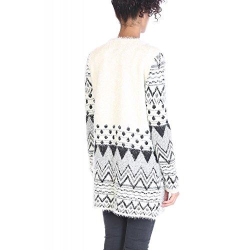 By Swan - Gilet mi-long en maille duveteux avec motifs géométriques Peoma BlancTU