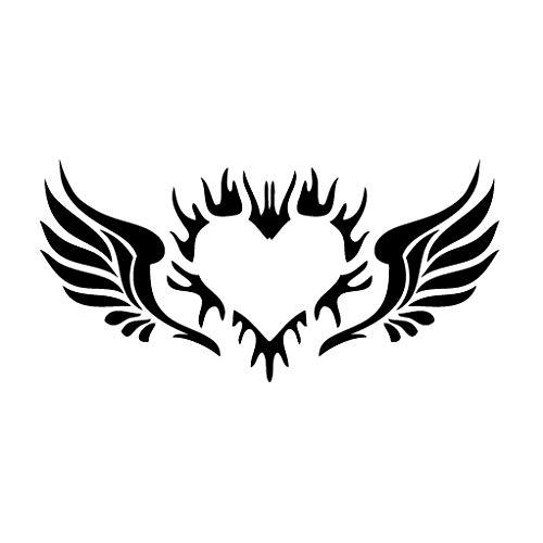leononlinebox Back Plate Angel Wing Heart - Tribal Decal [12cm Black] Vinyl Sticker for Car, Bike, iPad, Laptop, MacBook, Helmet