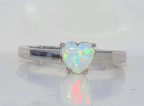 Simulated Opal Heart Ring .925 Sterling Silver Rhodium Finish