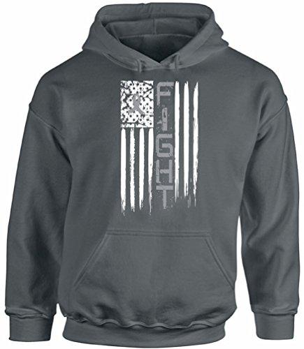 Awkward Styles Unisex Brain Cancer Distressed American Flag Hoodie Hooded Sweatshirts Fight Gray Ribbon Charcoal 3XL