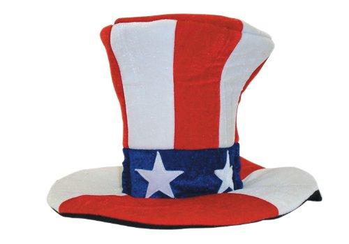 [Jacobson Hat Company Men's Giant Velvet Uncle Sam Top Hat, Multi, One Size] (Velvet Uncle Sam Top Hat)