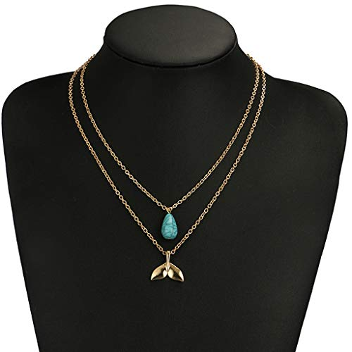 Thenxin Double Layering Dainty Chain Irregular Pendant Choker Necklace,Multi-Layer Clavicle Chain for Women (Gold)