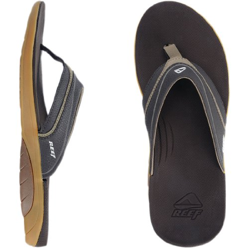 Reef Men's Stinger Flip Flop, Dark Brown/Tan, 10 M US