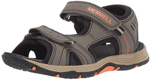 Merrell Boys' Panther Sandal, Gunsmoke/Orange 10 Medium US Toddler