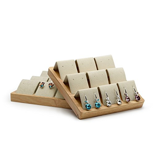 Oirlv Wood Jewelry Display Stand Earrings Organizer Holder Trade Show Earrings Studs Bearer ()