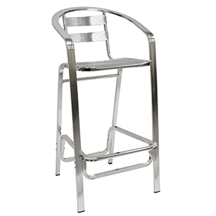 Contemporary Indoor/Outdoor Aluminum Bar Stools W Arms