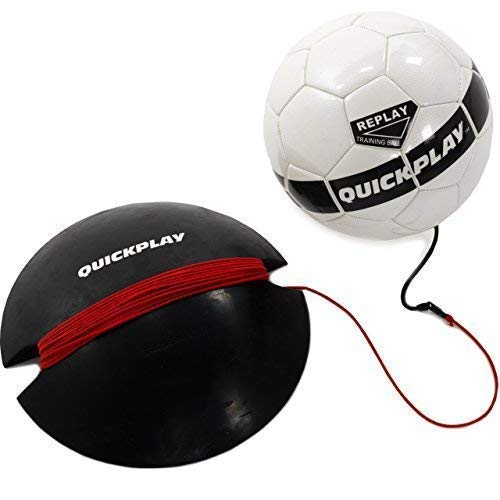QuickPlay Replay Soccer Training Ball | Adjustable Bungee Elastic Training Ball with Base Weight - The Ultimate Hands Free Soccer Trainer (Adult Size 5 Ball)