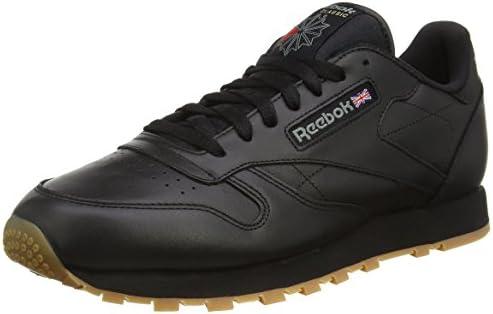 sale retailer 5d730 b542a Reebok Classic Leather, Men's Shoes, Black, 10.5 UK (45 EU ...
