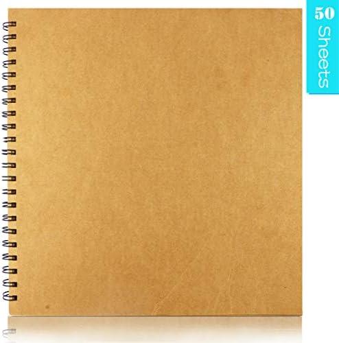 UPlama ハードカバー クラフト ブランク ページ スクラップブックフォトアルバム 結婚式のゲストブック フォトアルバム 正方形 スパイラル綴じ 段ボールカバー スケッチブック 50枚 12 x 12インチ 200GSM