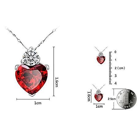 UPapa Parure de Bijoux en Forme de c/œur Romantique avec Collier et Boucles doreilles en Argent Brillant 1cm 1.6 Red