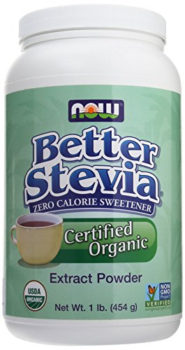 NOW Foods Better Stevia Certified Organic Extract Powder 1 lb (454 g) Pwdr