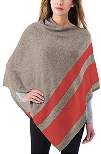Celeste Ladies' Colorblock Cashmere Blend Travel Wrap Poncho (Tan/Orange Stripe)