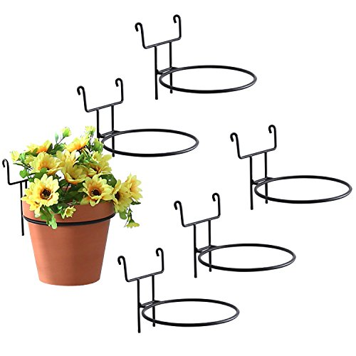 - 7-Inch Black Metal Wire Hanging Planter Holders for Wire Trellis Wall, Set of 6